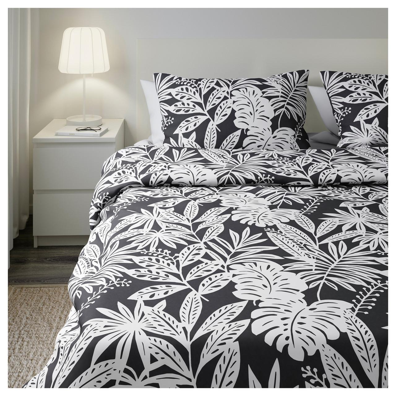 ФАГЕРГИНСТ Комплект постельного белья, серый, белый, 200x200/50x60 см 90350287 IKEA, ИКЕА, FAGERGINST