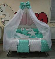 Детская кроватка колеса+качалка Наталка, Набор для сна 25 предметов! постельное Euro Stars