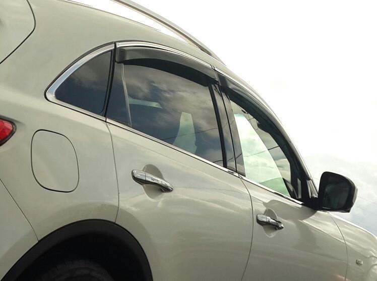 Дефлекторы окон ветровики на INFINITI Инфинити JX35 QX60 -2012 С Хром Молдингом