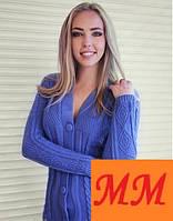 Вязанная женская кофта декольте на пуговицах разные цвета, фото 1
