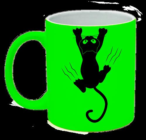 Неоновая матовая чашка c котом, ярко-зеленая