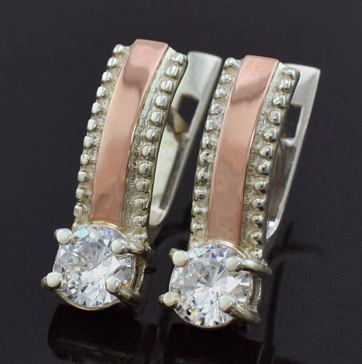 """Серебряные серьги с золотыми пластинами """"Мэри"""", размер 17*6 мм, серебро 3.12 г, золота 0.05 г"""