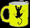 Неоновая матовая чашка c котом, ярко-желтая