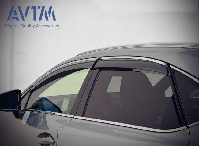Дефлектори вікон вітровики на LEXUS Лексус NX 2014 - (з хром молдингом)