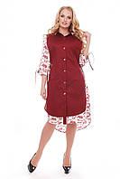 Платье большого размера VР45 бордо с буквами, фото 1