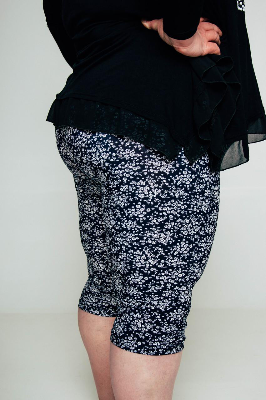 Жіночі літні бриджі батали з принтом - Квіточки 1f12494d82f79