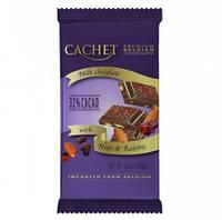 Бельгийский черный    шоколад Cachet молотый миндаль и изюм 300 грамм