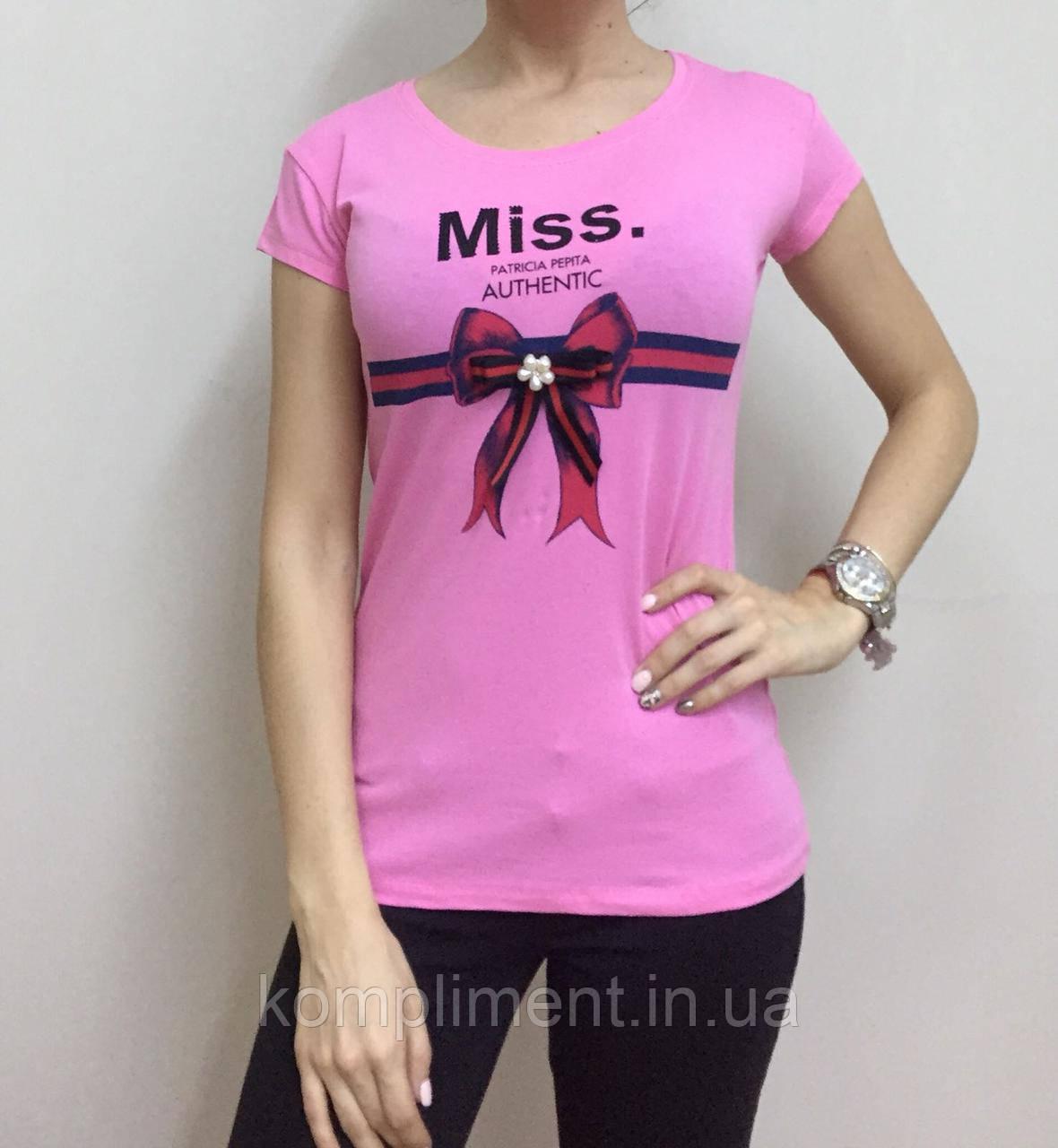 Летняя женская турецкая футболка с милым бантиком розовая