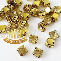 Шатоны в золотых цапах 6мм, цвет Jonquil