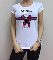 Летняя женская турецкая футболка с милым бантиком белый