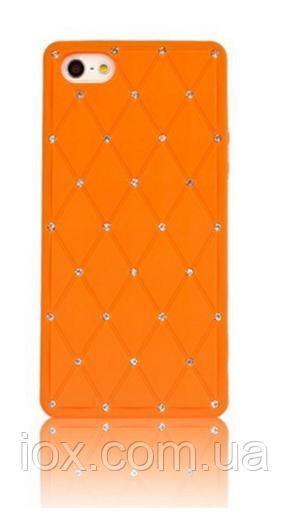 Силіконовий помаранчевий чохол зі стразами для Iphone 5/5S