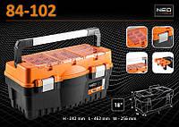 Ящик для инструмента с 2-мя органайзерами, размеры 242x462x256 мм, NEO 84-102