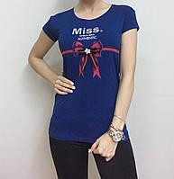 Летняя женская турецкая футболка с милым бантиком синий