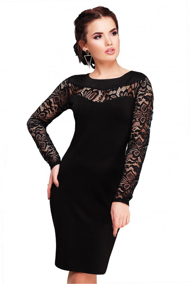 50f347dd2e4 Изящное приталенное черное платье с гипюровыми рукавами и разрезом сзади