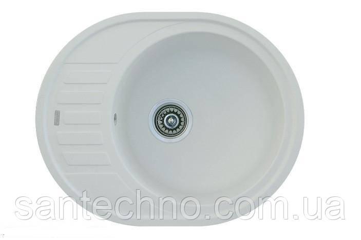 Овальна плита гранітна мийка Fabiano Arc 62x50 White (біла)