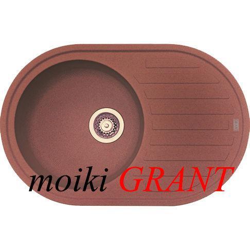 Кухонная мойка с одной чашей и крылом из гранита от производителя Grant модель Mars овальная цвет коричневый