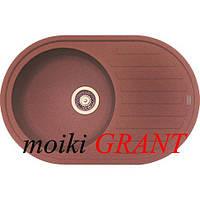 Кухонная мойка с одной чашей и крылом из гранита от производителя Grant модель Mars овальная цвет коричневый, фото 1