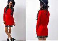 Платье полу-приталенное с французским кружевом, красное