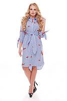 Платье большого размера VР49 бело-голубое, фото 1
