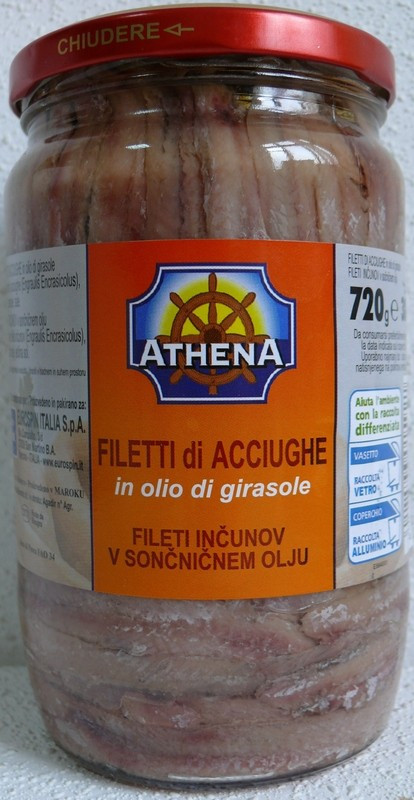 Филе Анчоусов в подсолнечном масле Filetti di Acciughe Athena, 720 гр.