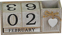 Вечный календарь с подставкой для ручек серый PR366
