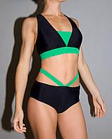 Комплект женский чёрный+зелёный Zevana Fox+Swan