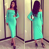 Платье спущенные плечи длинный рукав миди, цвет мяты, фото 1