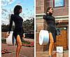 Платье миди с высокой горловиной с разрезом черное