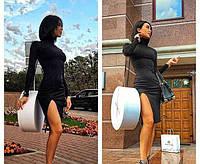 Платье миди с высокой горловиной с разрезом черное, фото 1