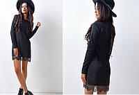 Трикотажное платье с кружевом, цвет - черный
