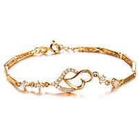"""Позолоченный женский браслет """"Сердце к сердцу"""", фото 1"""