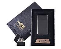 USB зажигалка Черное Золото в подарочной упаковке ZHONG RUI (Двухсторонняя спираль накаливания)