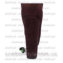 Ботфорты замшевые на устойчивом каблуке бордового цвета молния до верха Код 1372, фото 2