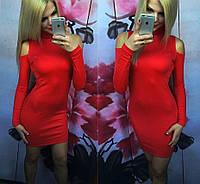 Молодежное платье с вырезом на плече красное, фото 1