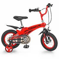 Велосипед детский PROF1 12д. LMG12123 (1шт) Projective,магниевая рама,красный, доп.колеса