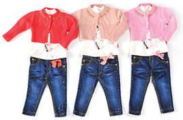 Комплект для девочки: болеро, джемпер, джинсы
