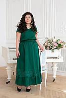 Летнее платье макси с оборкой РИЧ зеленое (54-60)