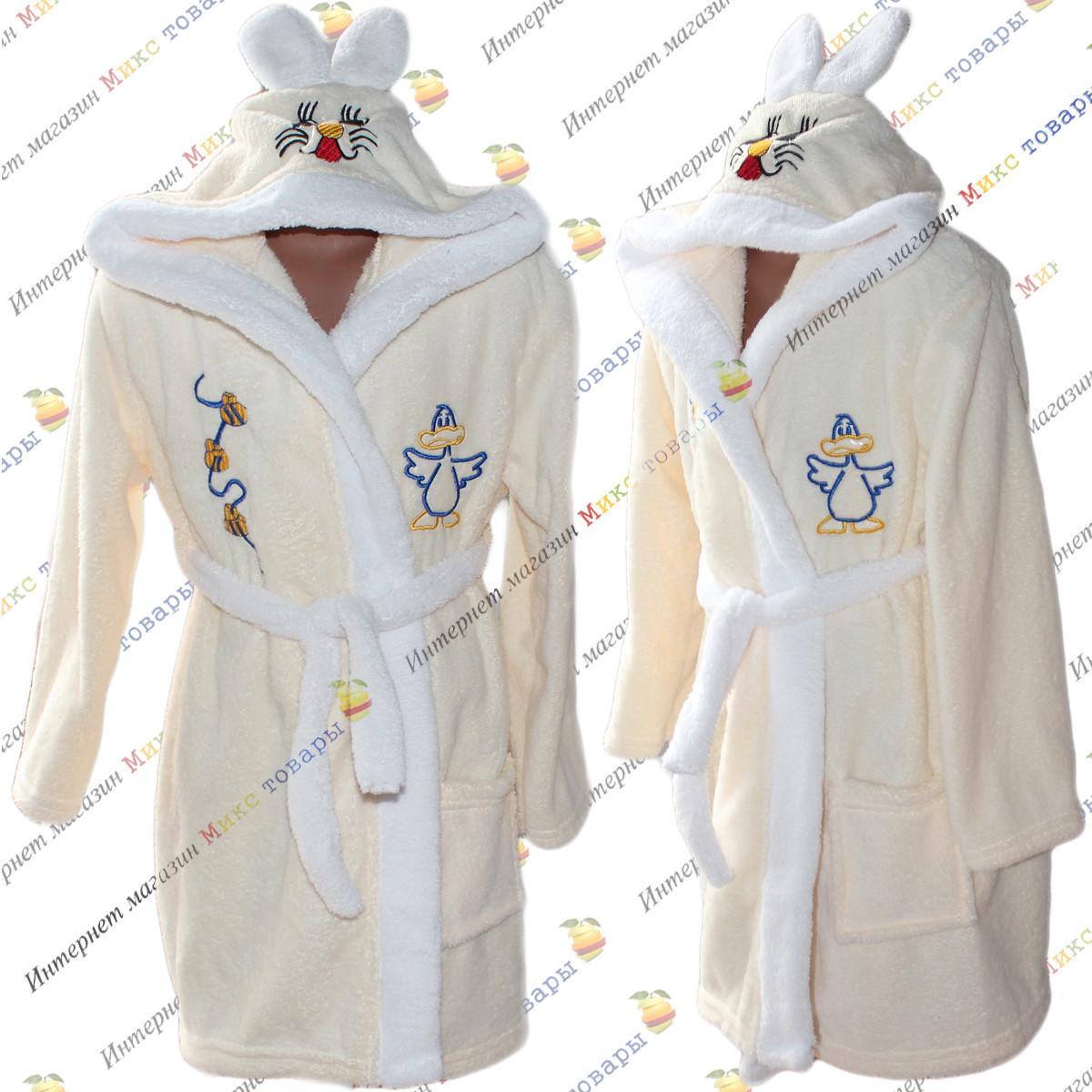 Детские махровые халаты для мальчика и девочки от 4 до 9 лет