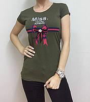 Летняя женская турецкая футболка с милым бантиком оливковая