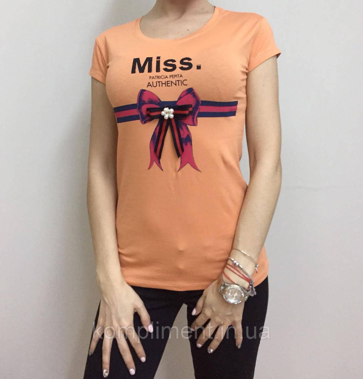 Летняя женская турецкая футболка с милым бантиком оранж