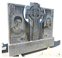 Памятник гранитный двойной. Крест+иконы