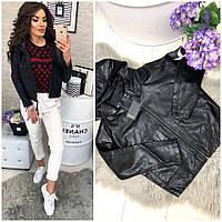 Стильная чёрная кожаная куртка Zara