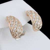 Стильные серьги с кристаллами Swarovski, покрытые слоями золота 0627