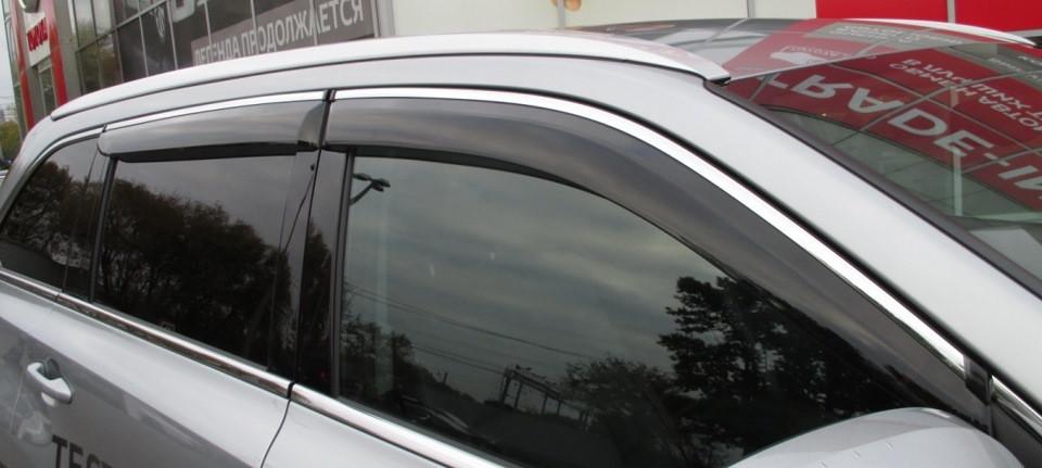 Дефлекторы окон ветровики на TOYOTA Тойота Highlander 2014 -> С Хром Молдингом