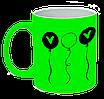 Неоновая матовая чашка c шариками, ярко-зеленая