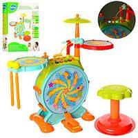 Барабанная установка 666 (6шт) стульчик,микрофон,муз, св, зв, палочки,на бат, в кор,43,5-56,5-12,5см