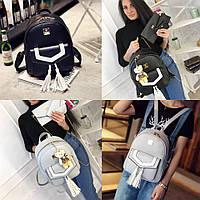 Рюкзак +клатч+визитница+кошелек  черный, серый