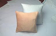 Подушка квадрат 35см. білий/ персик плюшева для сублімації