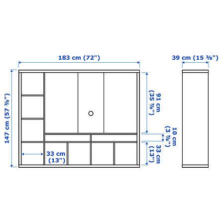 ЛАППЛАНД Тумба под ТВ, белый, 183x147 см 80285155 IKEA, ИКЕА, LAPPLAND, фото 2