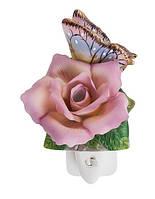 """Фарфоровый ночник (светильник) """"Роза с бабочкой"""" Pavone CMS - 16/ 5"""